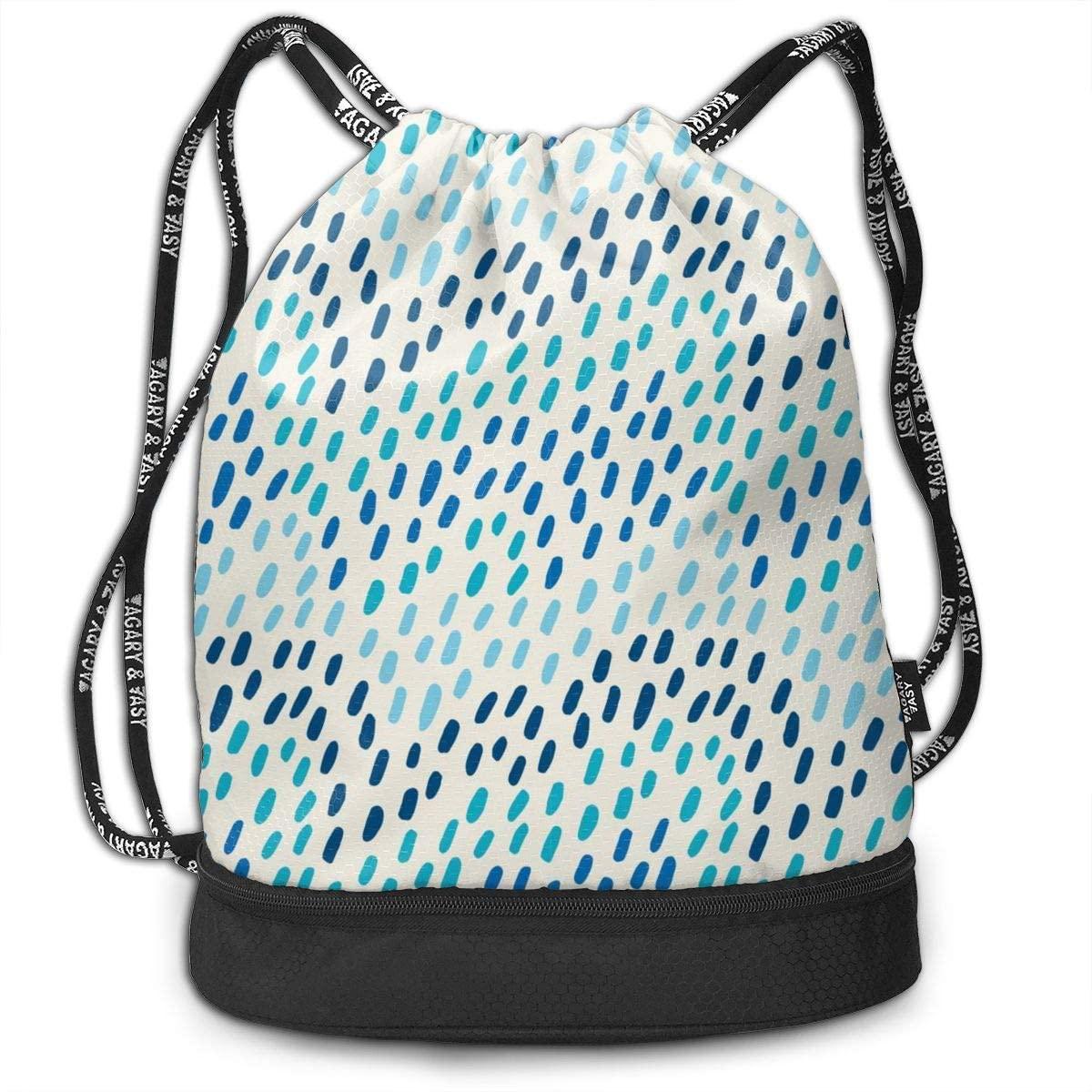 Bundle Backpacks Hand Drawn Pattern. Blue Waves Gym Sack Drawstring Bags Casual Daypack Yoga Bag School Training Pouch