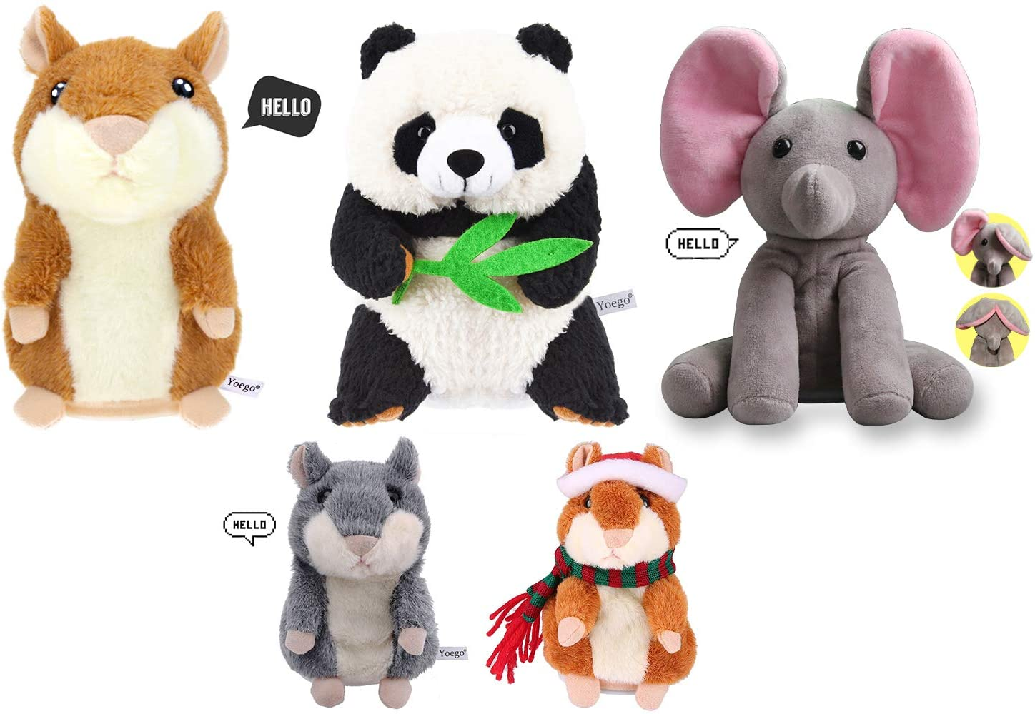 Yoego Talking Toy ,Plush Animal Cute Sound Effects with Repeats Your Said Voice, Best Buddy for Kids Gift( 5pcs)
