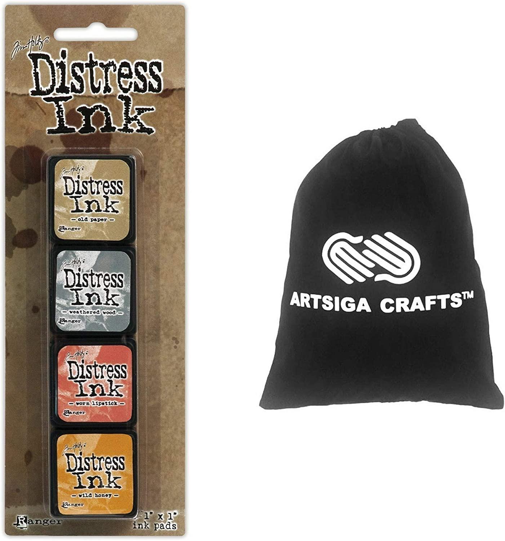 Ranger Ink Tim Holtz Distress Mini Ink Pads 4/Pack Assortment #7 Bundled with 1 Artsiga Crafts Small Project Bag