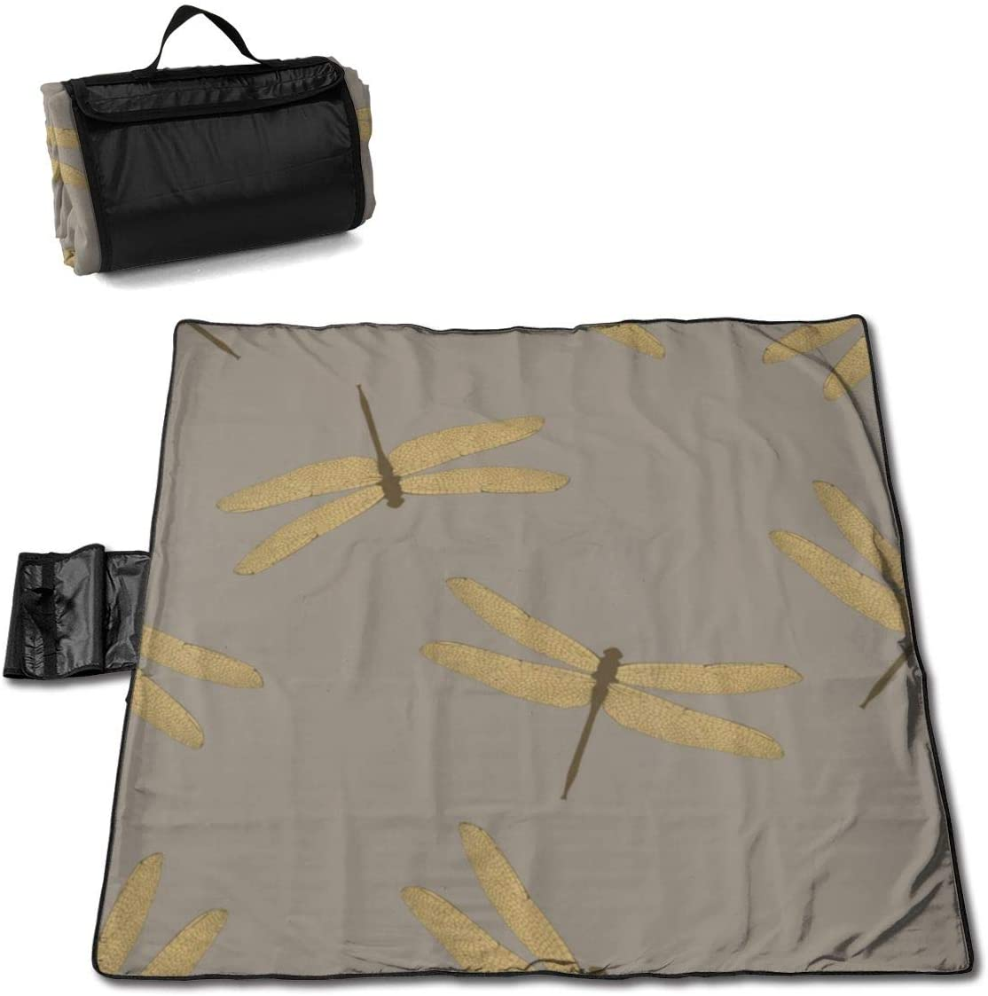 Beach Picnic Blanket Dragonflies Fashion Waterproof Extra Large Outdoor Handy Mat Sand Proof Camping Travelling Accessories Portable Family Tote On Grass Outings Quick Dry Bag