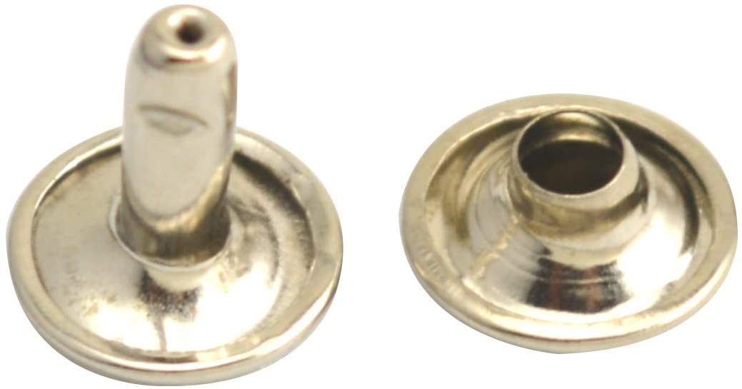 Wuuycoky Silvery Double Cap Leather Rivets Tubular Metal Studs Cap 12mm and Post 10mm Pack of 100 Sets