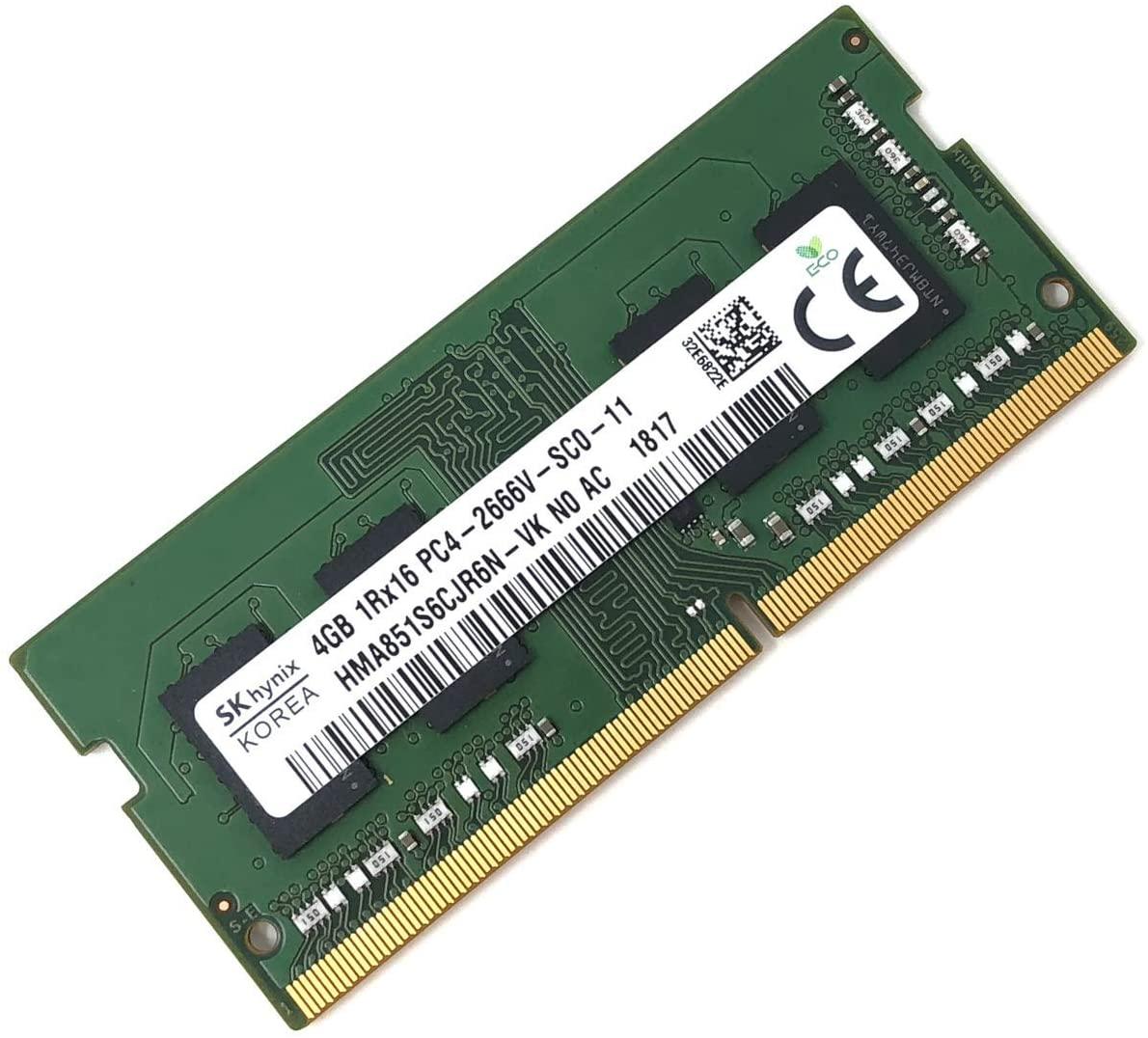 SK hynix HMA851S6CJR6N - VK Non ECC PC4-2666V 4GB DDR4 at 2666MHz 260pin SDRAM SODIMM Single Kit Laptop Memory - OEM (Renewed)