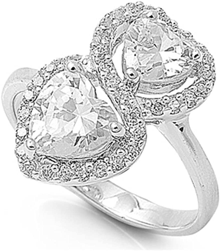 Glitzs Jewels Sterling Silver Stacked Hearts Ring, 17mm Choose Your Color