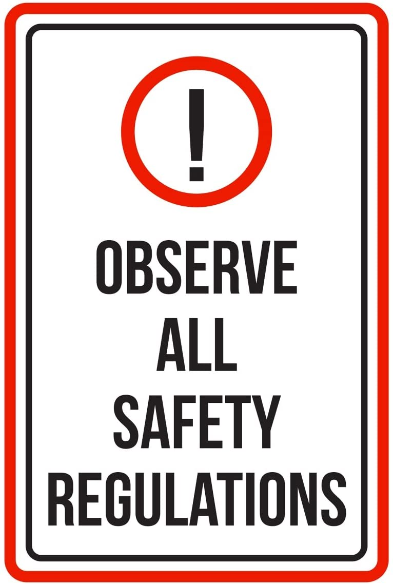 iCandy Products Inc Observe All Safety Regulations Pool Spa Warning Large Sign, Metal, 12x18