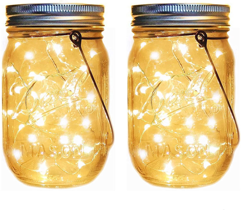 Solar Mason Jar Lantern Lights,2 Pack 40 Led String Stars Firefly Jar Hanging Lights(Mason Jar/Hanger Included) for Patio Garden Lanterns Wedding Table Decor Van Gogh Starry Sky Star Lights (1 pc)