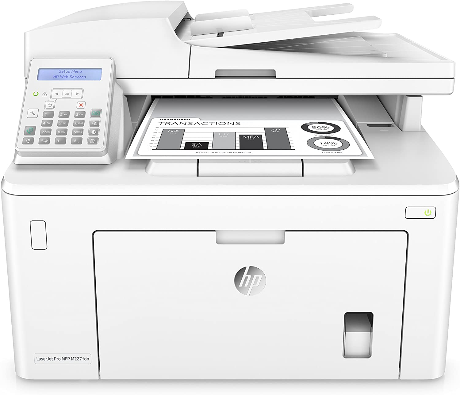 HP LaserJet Pro M227fdn All in One Laser Printer with Print Security, DHgate Dash Replenishment ready (G3Q79A),White,Normal