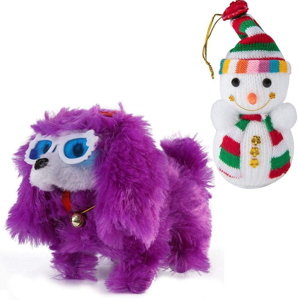 ECCRIS Walking and Barking Electronic Plush Puppy, Purple with Glasses and UPKnit Snowman Hanging Ornament