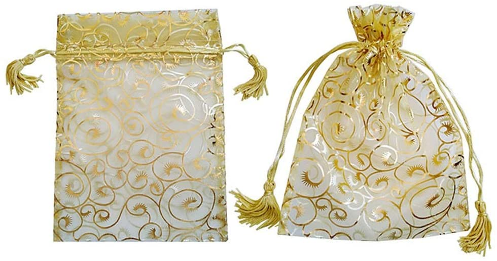 Mihaojianbing Gift Bags - 100 Pieces Organza Eyelash Pattern Drawstring Gift Bags Christmas Candy Jewelry Party Wedding Favor Pouches Gold Color, 911CM Odorless