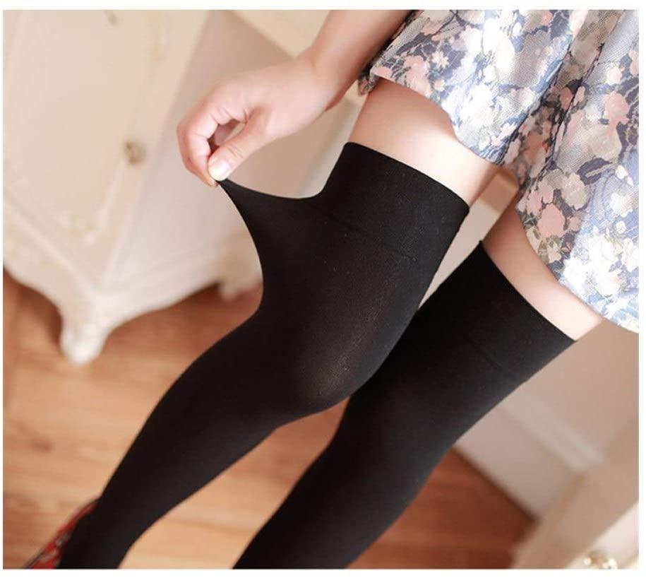 Ocean Snow Thigh Socks Velvet Nylon Women Over Knee Stockings Solid Stripes Black White Stockings Tights Fashion Bottom (Color : Sold Black)