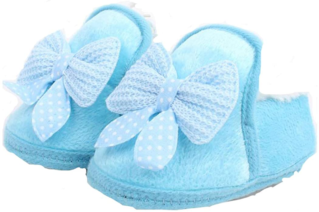 Spring Autumn and Winter Baby Cotton Shoes Boots Thick Warm Soft Bottom Toddler Shoes Bow (Blue 12.5)