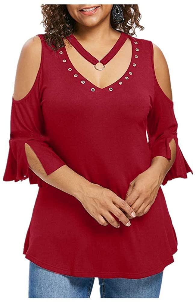 Farmerl Plus Size Women Solid T-Shirt Short Sleeve Vest V-Neck Rivet Blouse-New!