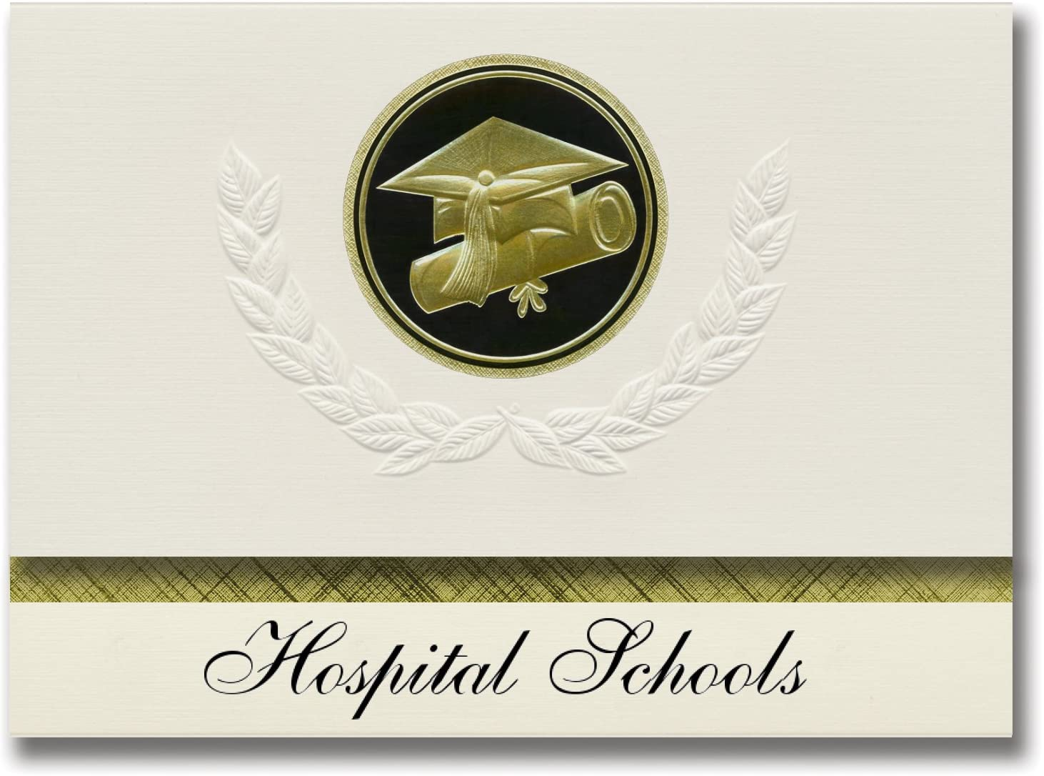 Signature Announcements Hospital Schools (Bronx, NY) Graduation Announcements, Presidential style, Elite package of 25 Cap & Diploma Seal Black & Gold