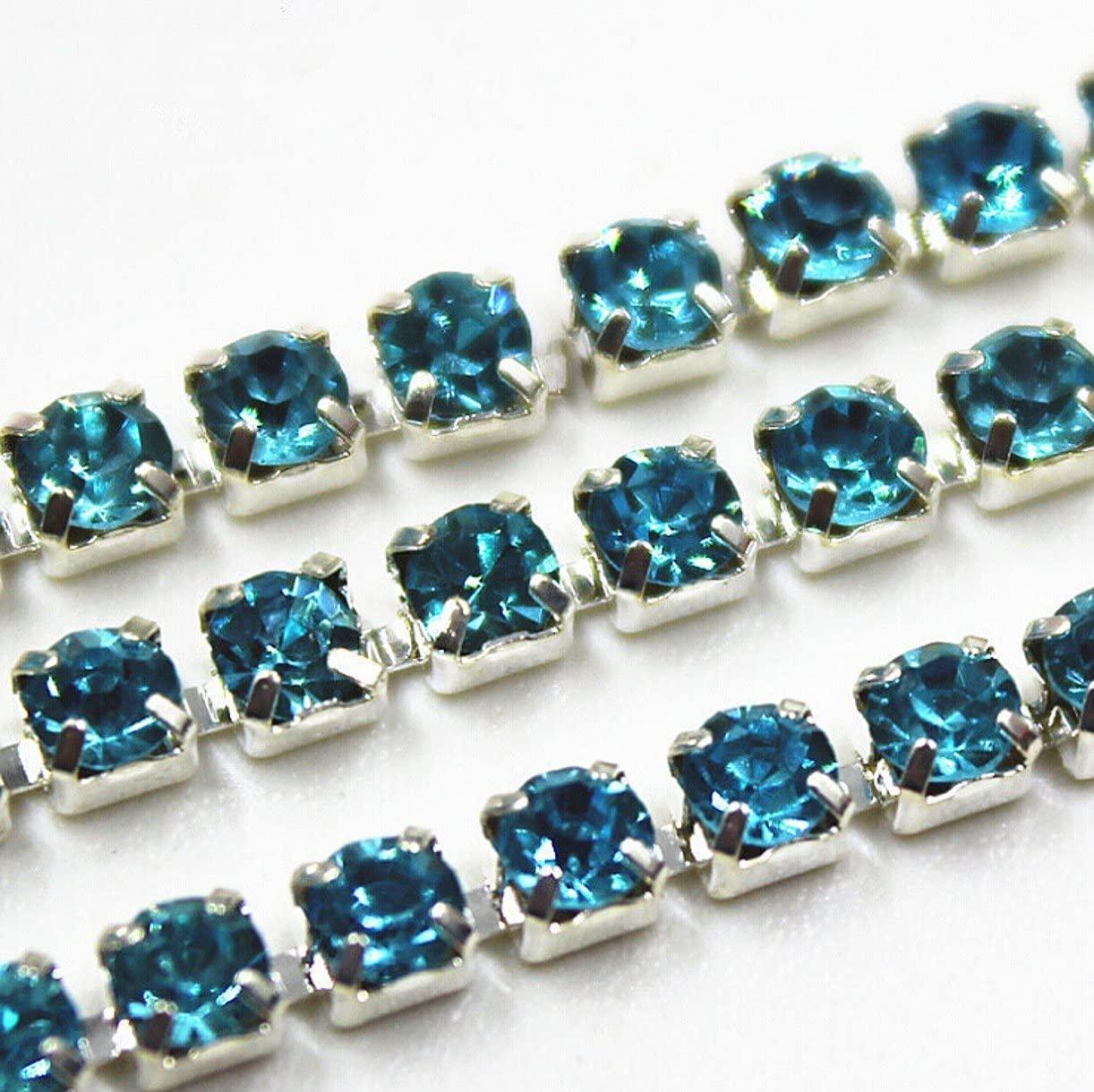 WellieSTR 10 Yard Of Blue Crystal Rhinestone Close Chain Clear Trim Sewing Craft by DIY Design 2mm