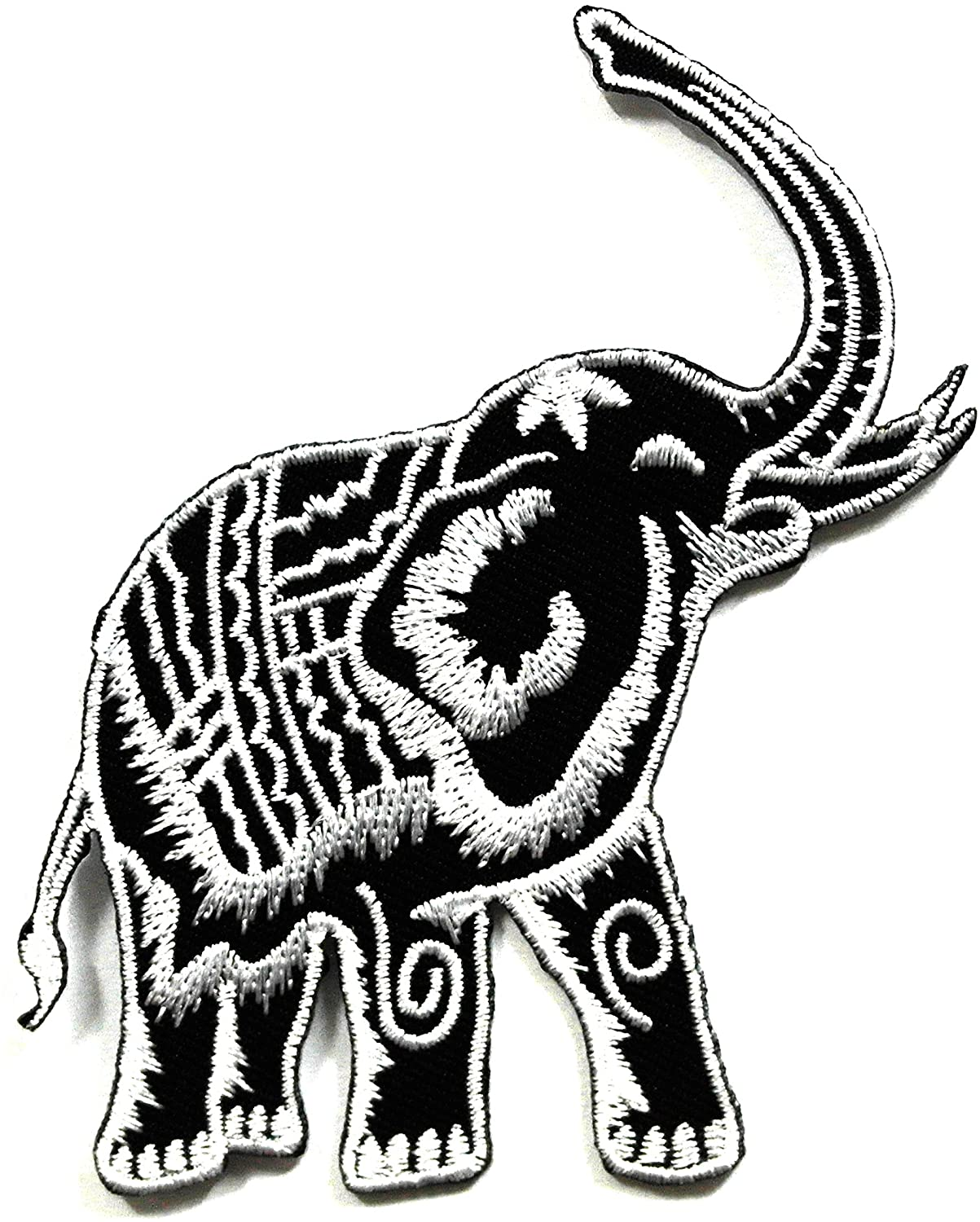 Silver Elephant Patch - Applique Embroidered patches - Iron on Patches - Backpack Patches - Size 8.5 x 10 Cm.