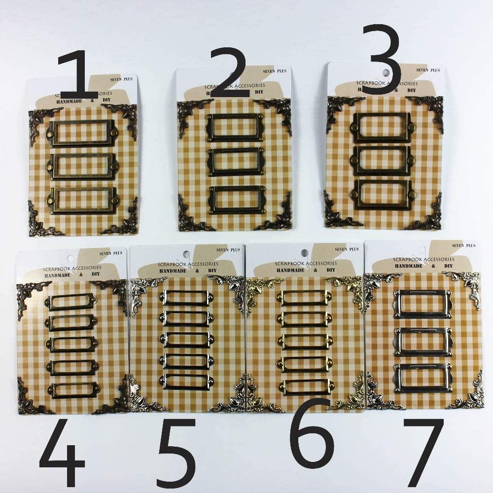 Zereff Vintage/Silver/Golden Metal Frame Tags Scrapbooking Decoration Metal Corner Protectors Brads Set 6Sets/Lot