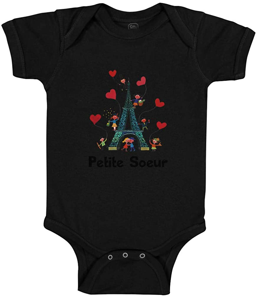 Custom Baby Bodysuit Eiffel Tower and Black Text Petite Soeur Love Valentines