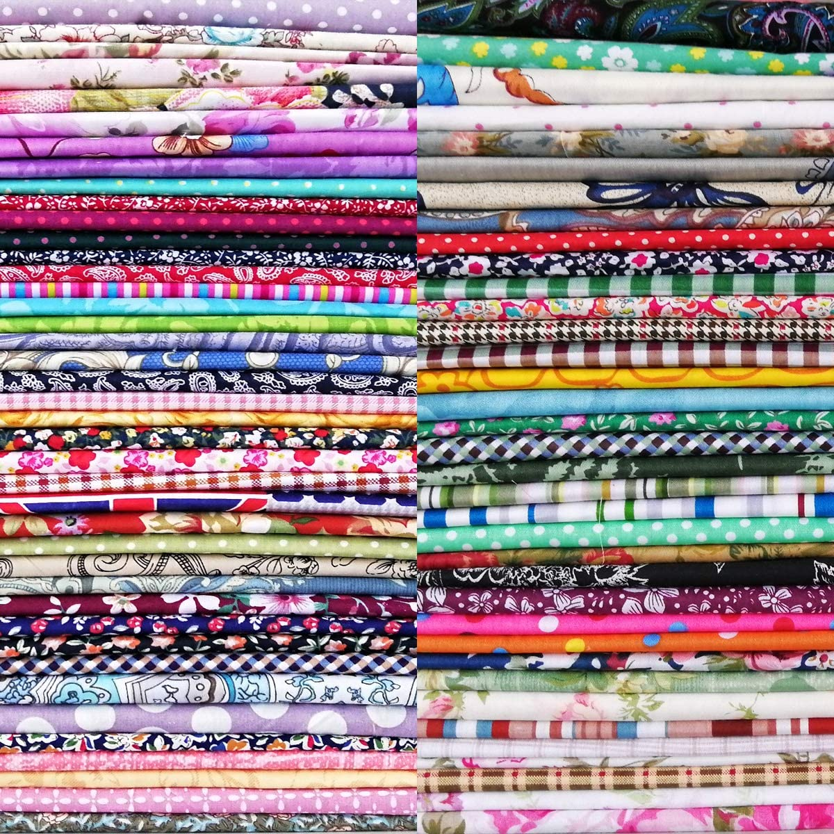 8 x 8 50 PCS 100% Cotton Fabric Bundles for Quilting Sewing DIY & Quilt Beginners, Quilting Supplies Fabric Squares