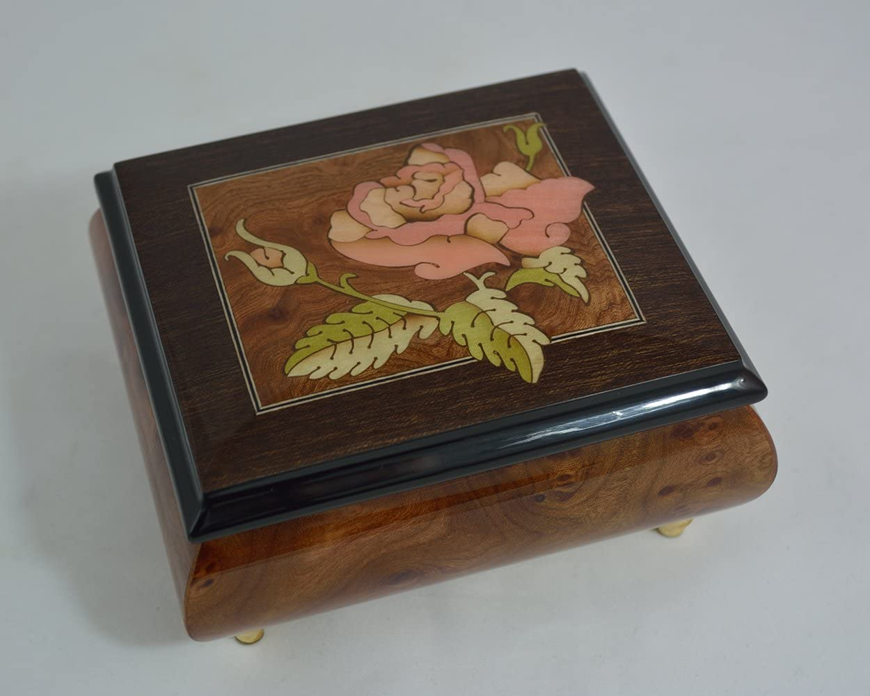 Made in Italy Sorrento Inlaid Inlaid Rose Burl Musical Jewelry Box - Clair De Lune (Sankyo 18-Notes)