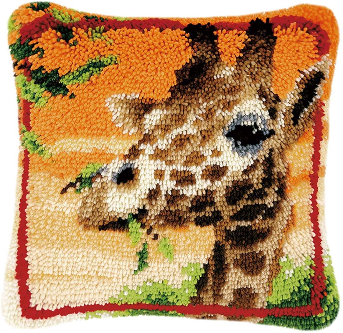 Latch Hook Cushion Kit Giraffe Eating Leaves Pillowcase Embroidery Starter Kits Cushion Cover for Home Decor 16 x 16
