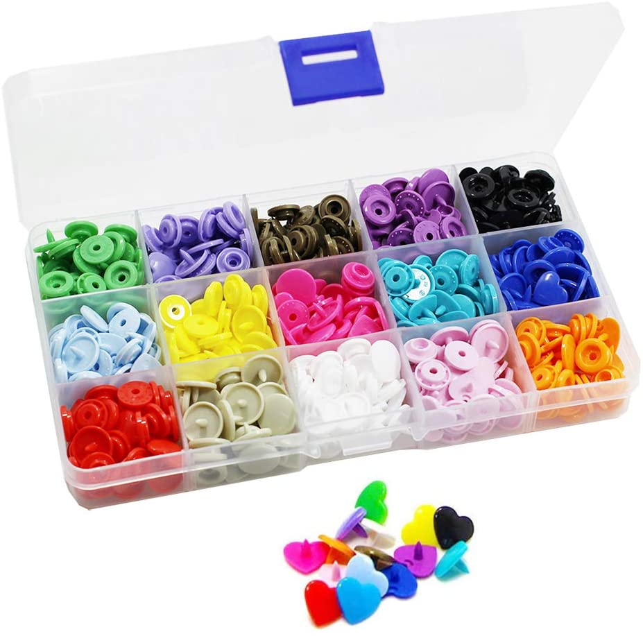 150 Sets KAM Snaps Heart Shaped with Storage Box, BetterJonny Size 20 T5 Glossy Plastic Resin Fasteners No-Sew Buttons for Baby Clothes Diaper/Bibs/Unpaper Towels/Nappies/Buttons/Mama Pads