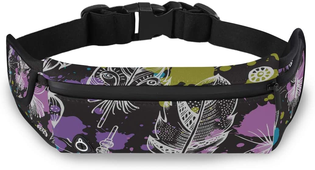 Beautiful Peacock And Bird Feather Mens Fannie Pack Ladies Fashion Bags Mens Waist Bags With Adjustable Strap For Workout Traveling Running