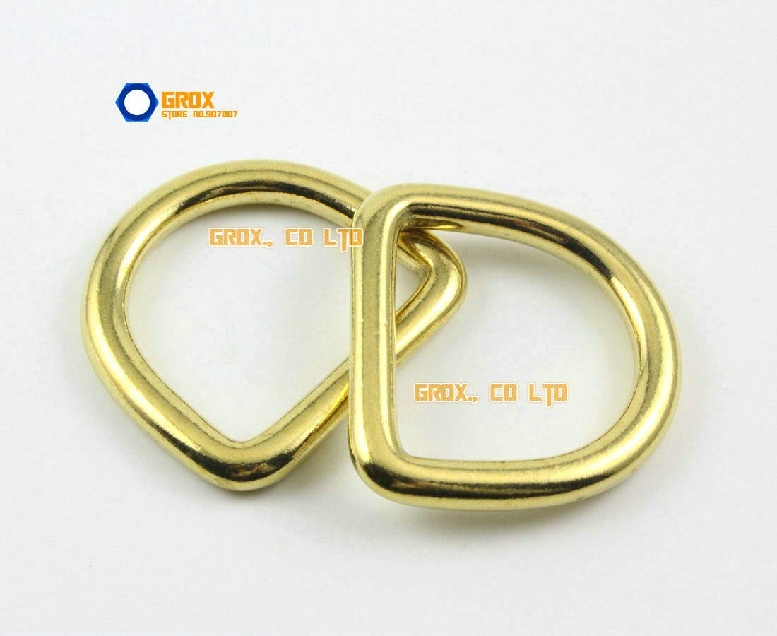 Ochoos 6 Pieces 29mm Solid Brass D Ring for Purse Bag Handbag Strap Dee Ring