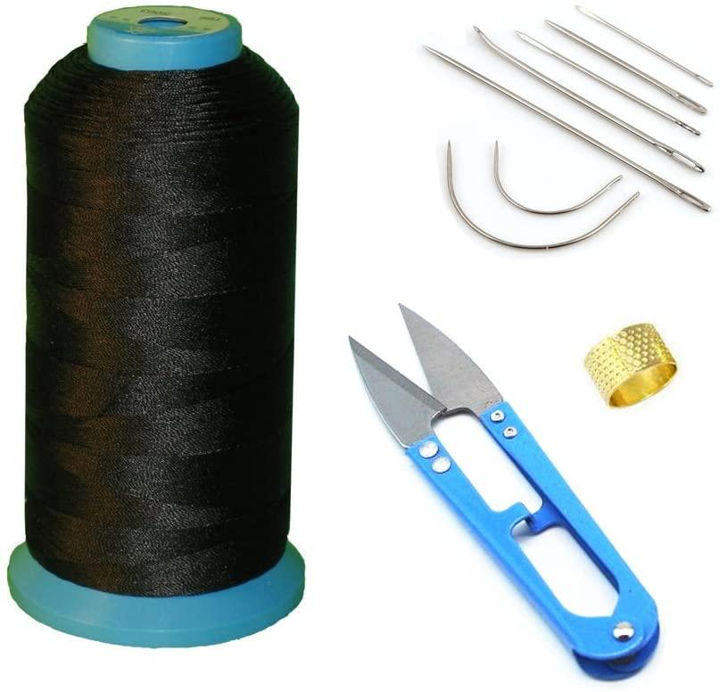 AntKits Bonded Nylon Sewing Thread, Curved Needles, Scissors and Thimble Tools Kits (Black)