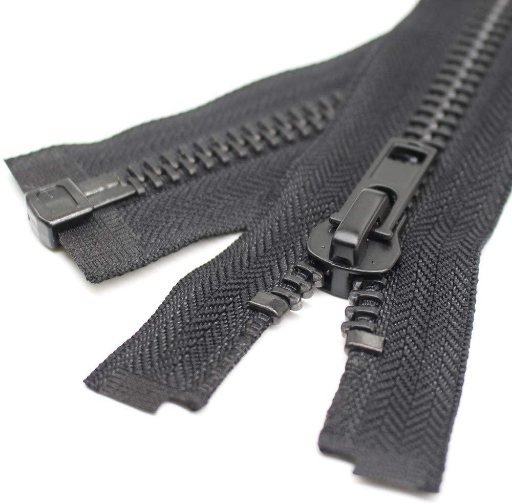 YaHoGa #10 22 Inch Black Nickel Separating Jacket Zipper Large Y-Teeth Metal Zipper Heavy Duty Metal Zippers for Jackets Sewing Coats Crafts (22