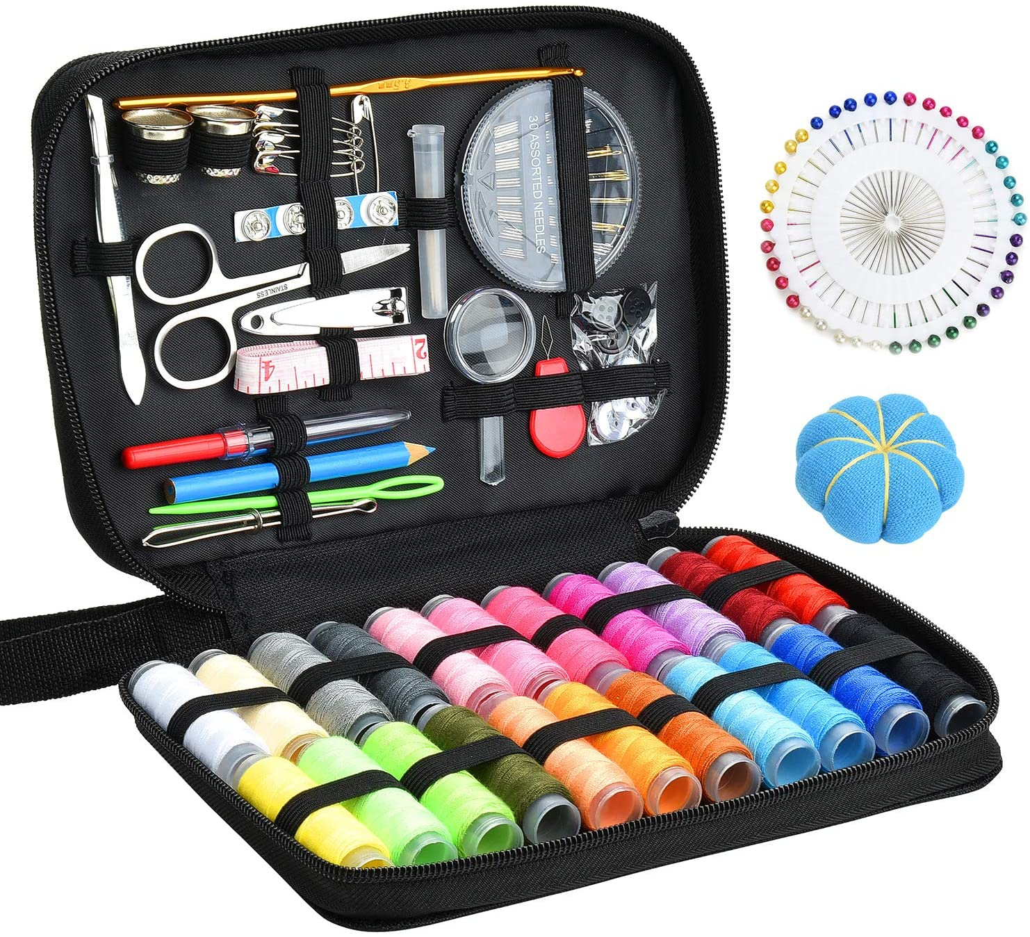 Marcoon Sewing KIT, DIY Sewing Supplies with Sewing Accessories, Portable Mini Sewing Kit for Beginner, Traveller and Emergency Clothing Fixes, with Premium Black Carrying Case (B)