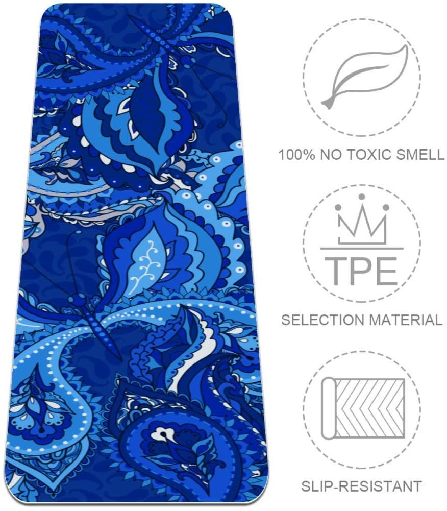 Desheze Blue Paisley Yoga Mat Non-Slip Exercise Mat TPE Eco Friendly Thick 6mm Pilates Mat with Yoga Carrier Bag 72x24in
