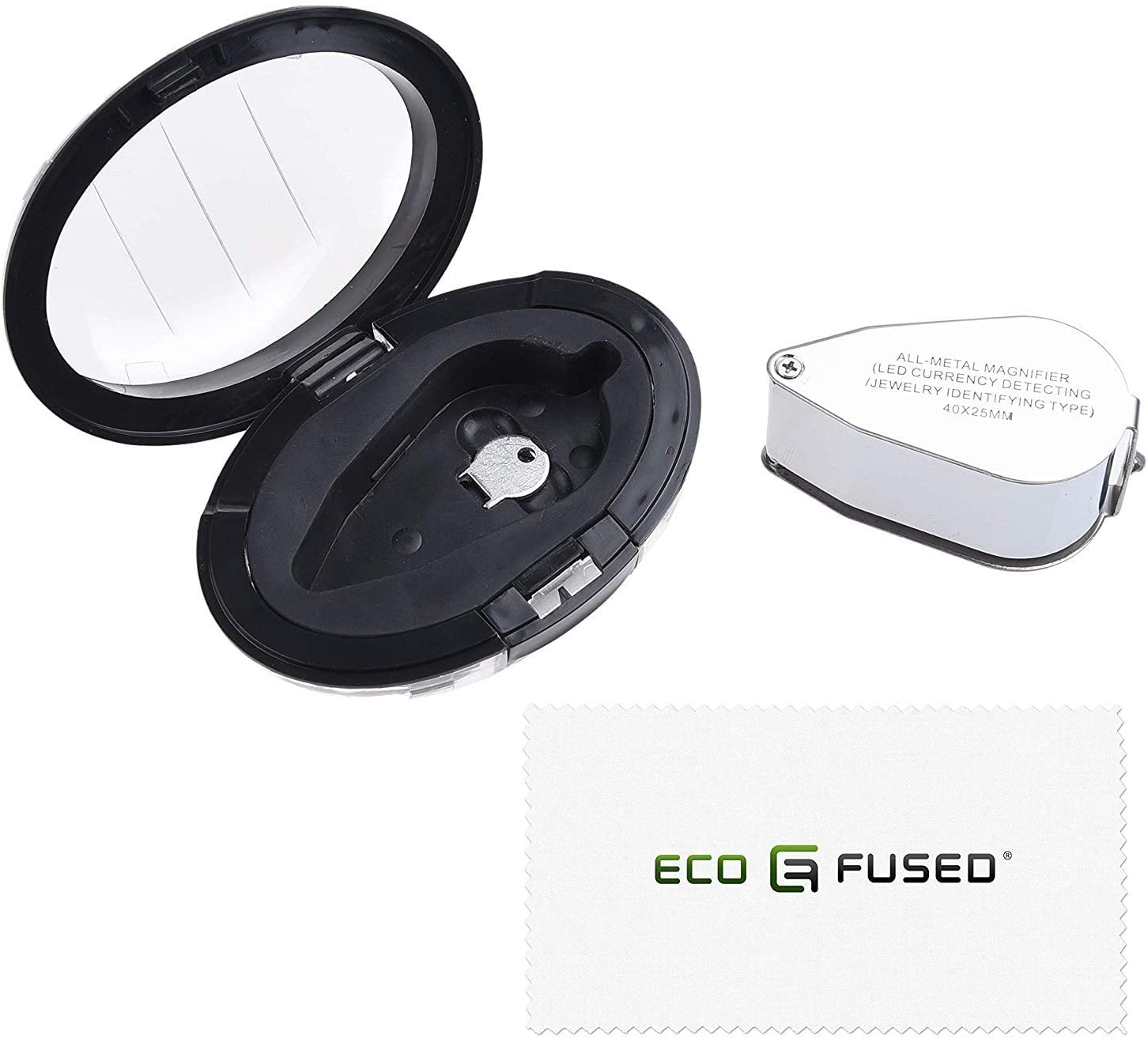 Eco-Fused 40X Illuminated Jeweler UV LED Lens Loupe Magnifier- Metal Construction - 25mm Optical Glass- for Jewelers, Coin, Stamp, Antique & Rock Collectors - Good for Gardening, Hobbies and Science