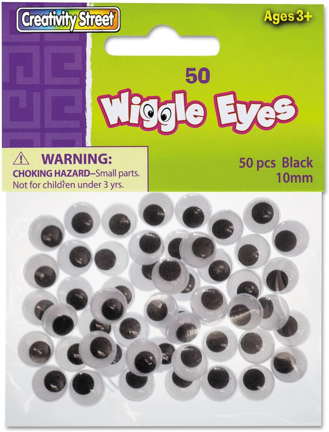 Creativity Street Childrens Art Wiggle Wiggly Eye, Black, White 50 per Pack