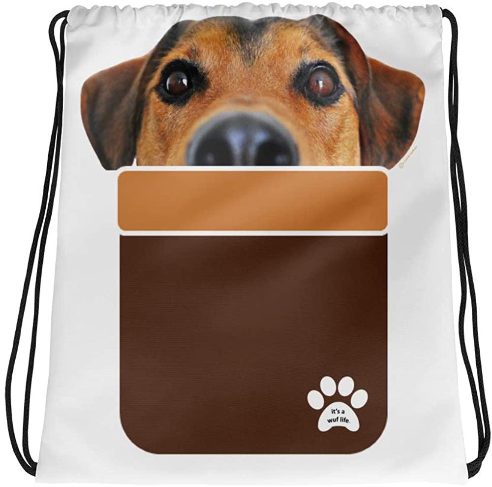 Pocket Pup Drawstring bag