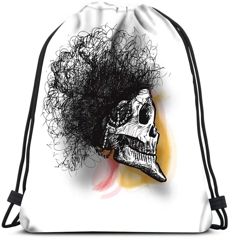 bneegxg Drawstring Backpack Bags Skull with Hair Sketch Sports Travel Yoga Gymsack