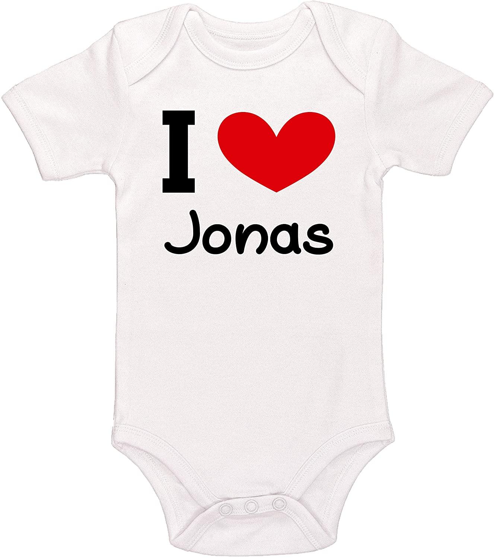 Kinacle I Love Jonas Personalized Baby Bodysuit