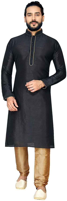 Indian Designer Partywear Traditional Ethnic Black Mens Wear Kurta Pajama.