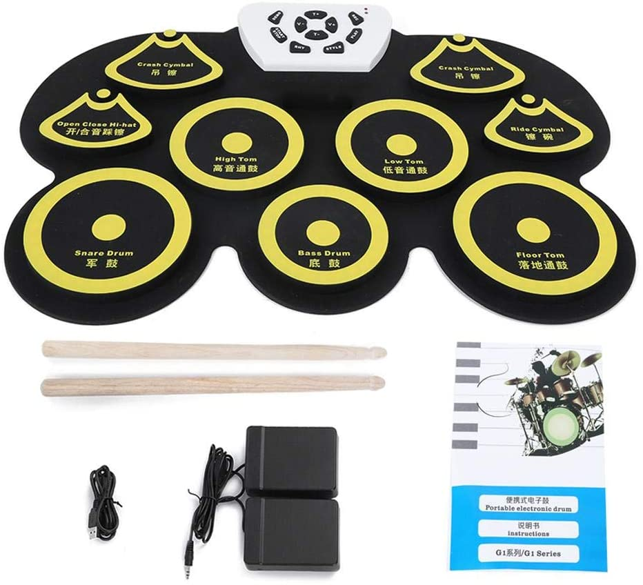 Electronic Drum Roll Up,Portable Roll Up Drum Kit Silicone USB Desktop Interesting Set with 1 USB Cable 2 Drumsticks 2 Pedals(yellow)