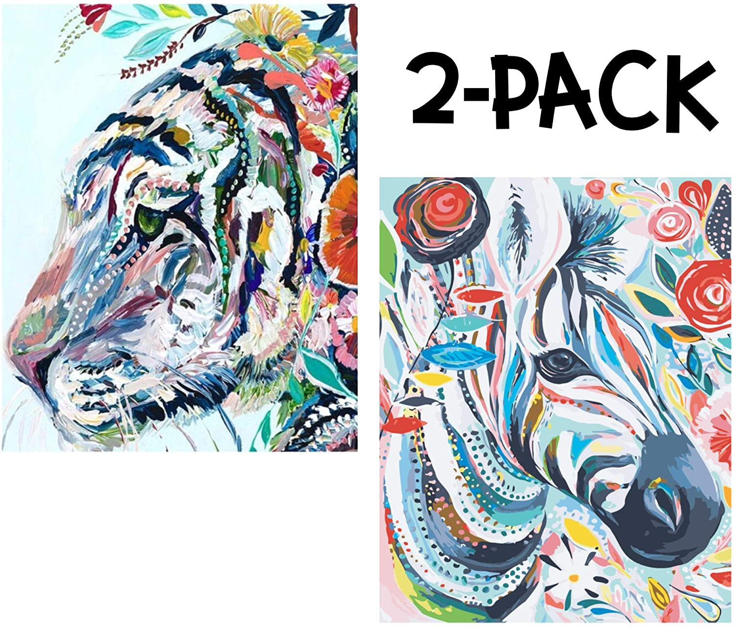 Måla | Premium Paint by Numbers for Adults | Rolled Canvas (No Creases) | 16 x 20 Inch | Acrylic Paint by Number Kit on Canvas, Vibrant Colors | Pastel Tiger & Zebra