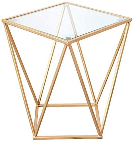 HOMRanger Transparent Table, Gold Square Iron Art Table Creative Living Room Bedroom Tea Table Leisure Table Coffee Table Tea Table (Size : 404050CM)