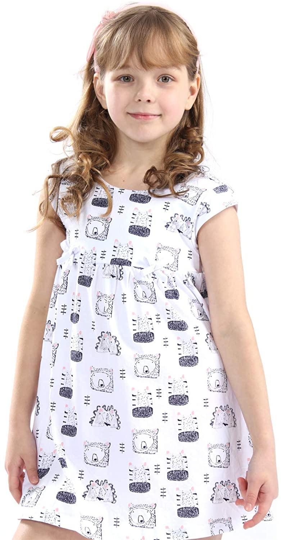 Mrsrui Little Girls Cotton Dress - Cartoon Print Tshirt Dress Skirt