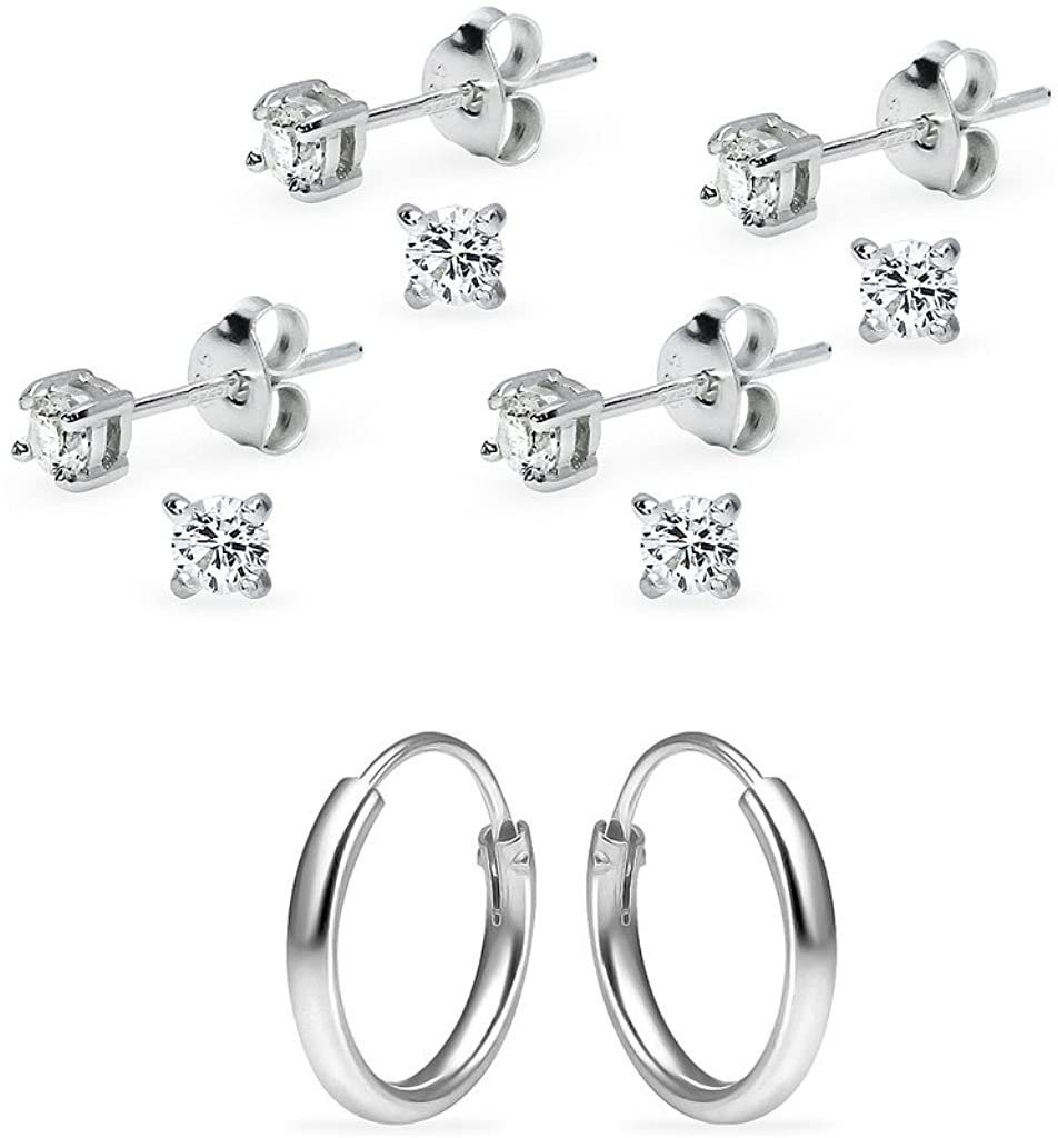 5 Pairs Sterling Silver 10mm Endless Hoops & 3mm Round CZ Stud Women & Girls Cartilage Earrings Set