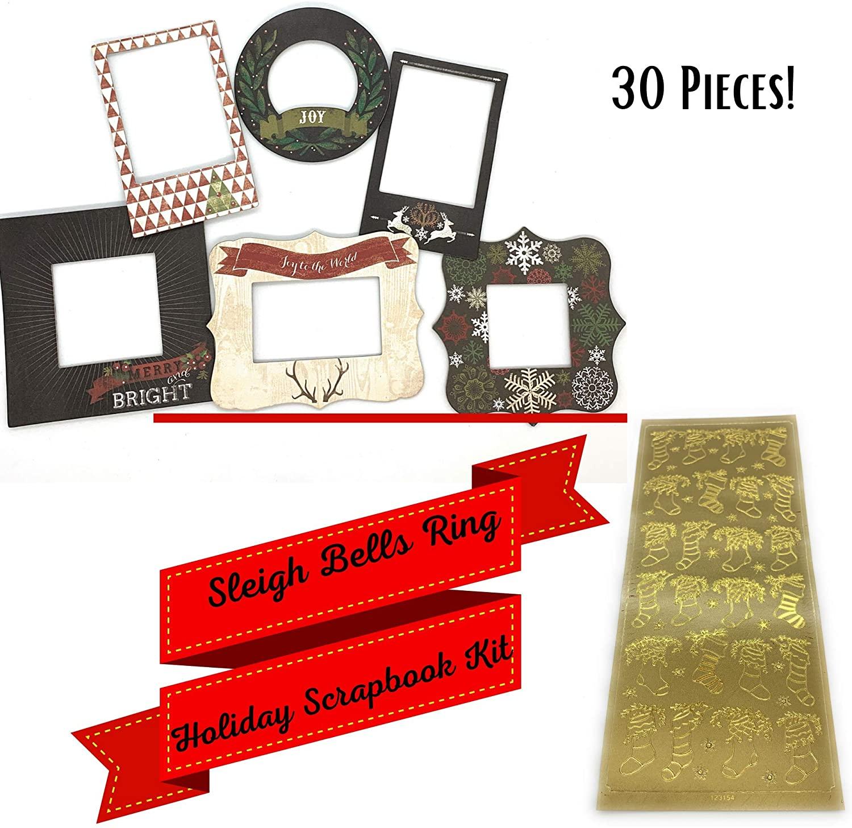 JourneyCraft - Sleigh Bells Ring Holiday Scrapbook Kit | Christmas Chipboard Frames & Foil Stickers | for Scrapbooking, Journaling & DIY Christmas Cards - 30 Piece Set
