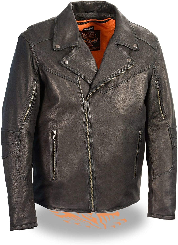 Milwaukee Leather MLM1516 Men's Triple Stitch Black Lightweight Biker Leather Jacket - Medium