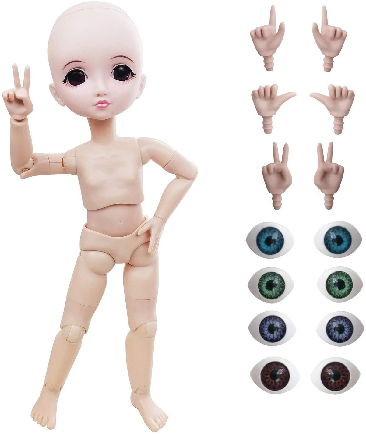 EVA BJD Customized 1/6 BJD Doll,29cm 11inch Ball Jointed Dolls +Basic Makeup + 5 Colors Eyes + Different Hands,Free to Change
