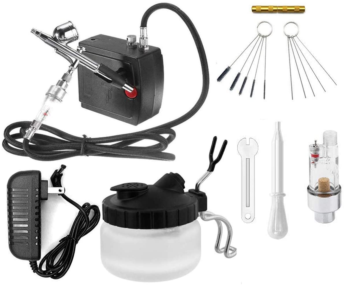 Airbrushing System Kit with Portable Mini Air Compressor -Dual -Action Airbrush Spray Gun Airbrush Cleaning Pot Tools, Hose with Airbrush Set for Makeup,Nails,Cars,Craft,Cake Decorating