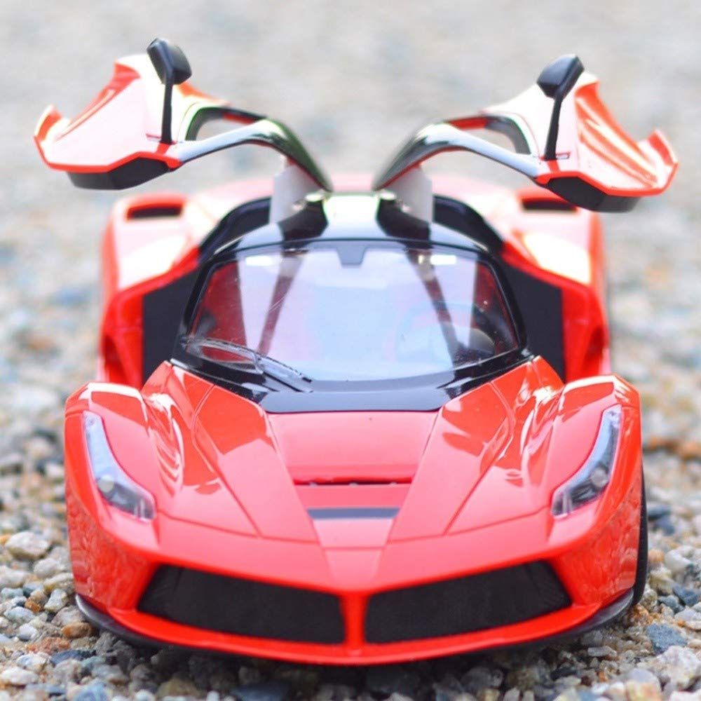 Kikioo 1:14 Scal One Key to Open The Door 2.4GHZ Radio Controlled Sports Car Simulation RTR Wireless Remote Control Buggy Chargeable Sturdy Anti-Collision RC Cars for Children Boys Easter Xmas Gifts