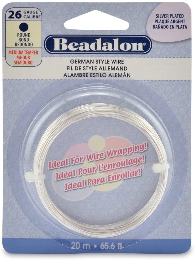 Beadalon German Style Wire, Round, Silver Plated, 26 Gauge, 20-Meters