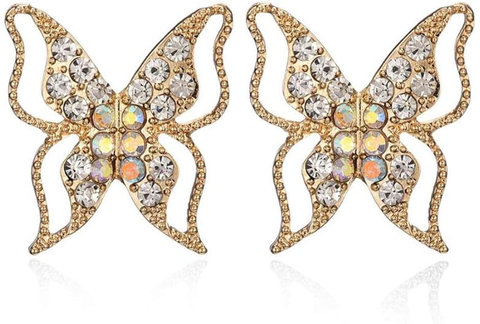 Diamond Geometric Butterfly Hollow Earrings for Women 925 Silver Needle Earrings, Filigree Earrings (Gold)