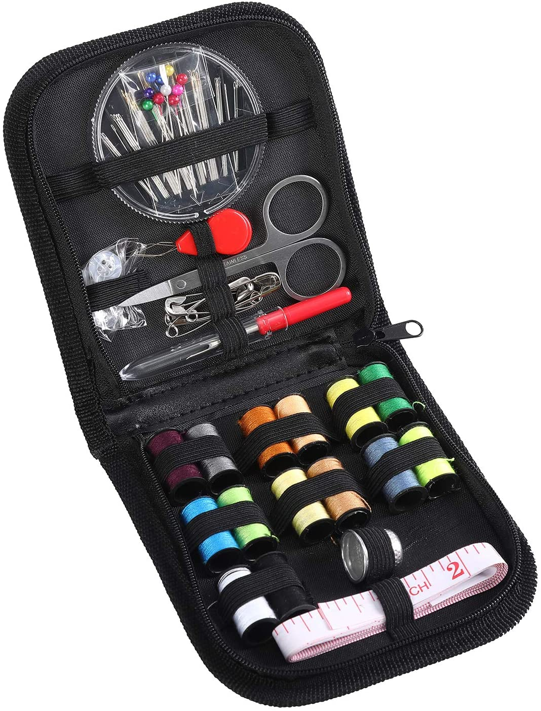 Portable Sewing Kits Accessories Supplies - Premium Sew Kit Emergency Set with Zipper Carrying Case for Traveller and Beginners Erikord(68 Pieces)
