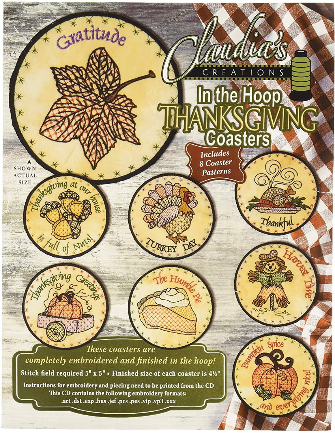 Claudia's Creations In The Hoop Thanksgiving Coasters Pattern